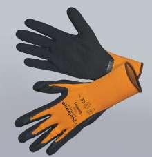Image of   Comfort, orange - sort - Tynd og smidig nylonhandske - Comfort,...
