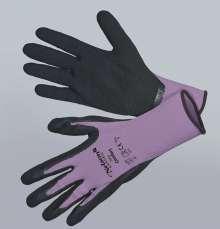 Image of   Comfort, lilla - sort - Tynd og smidig nylonhandske - Comfort,...