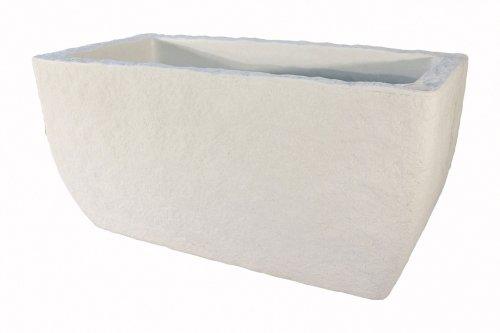 Eiger - Selvvandende krukker Model 80 80 x 40 cm aflang Hvid - Eiger - Krukker med indbygget selvanding Ny smart serie af krukker med indbygget selvvanding. Krukkerne fås i farverne hvid og grå og i 2 størrelser. Overfladen er patineret som giver krukkerne et flot naturligt look. Eiger - Selvvandende krukker Model 8