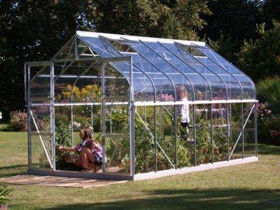 """Diana drivhuse Model 11500 Aluminium Glas, Drivhuse - """"Diana drivhus Diana er et kvalitetsdrivhus i samme flotte rundbuestil som Orion-serien. Diana drivhuset findes i flere store størrelser, og er derfor helt ideel for haveejeren med store ambitioner, som kan lide at have plads omkring sig. Rundbuestilen sk"""